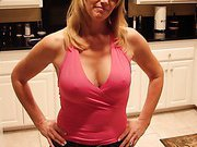 Hot milf poses for husband showing off her bigtits and hairy pussy