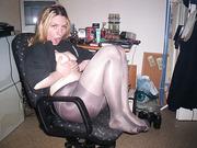 Meine deutsche Ficksau my German slut topless on office chair
