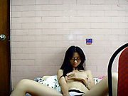 Young Asian girlfriend masturbating for boyfriend on webcam horny bitch