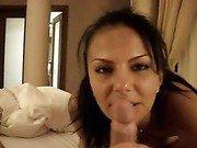 Tanned amateur brunette hottie pleasures her lover in pov home fuck
