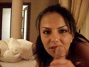 Petite provocative brunette gets her minge nailed hard in bedroom