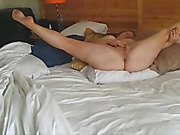 Mature wife rubbing her pussy as hubby watches