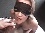 Thick facial for blindfolded milf babe after blowjob