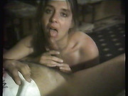 Sexy milf sucking hubby's cock and swallowing cum in POV